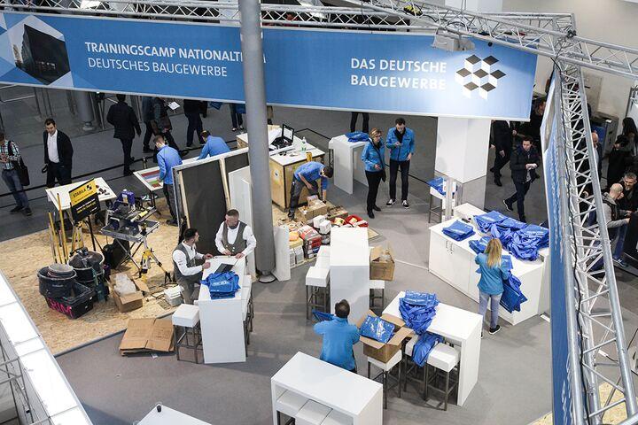 Das Nationalteam Deutsches Baugewerbe bereitet sich auf der BAU 2019 auf die WorldSkills in Kazan/Russland vor.